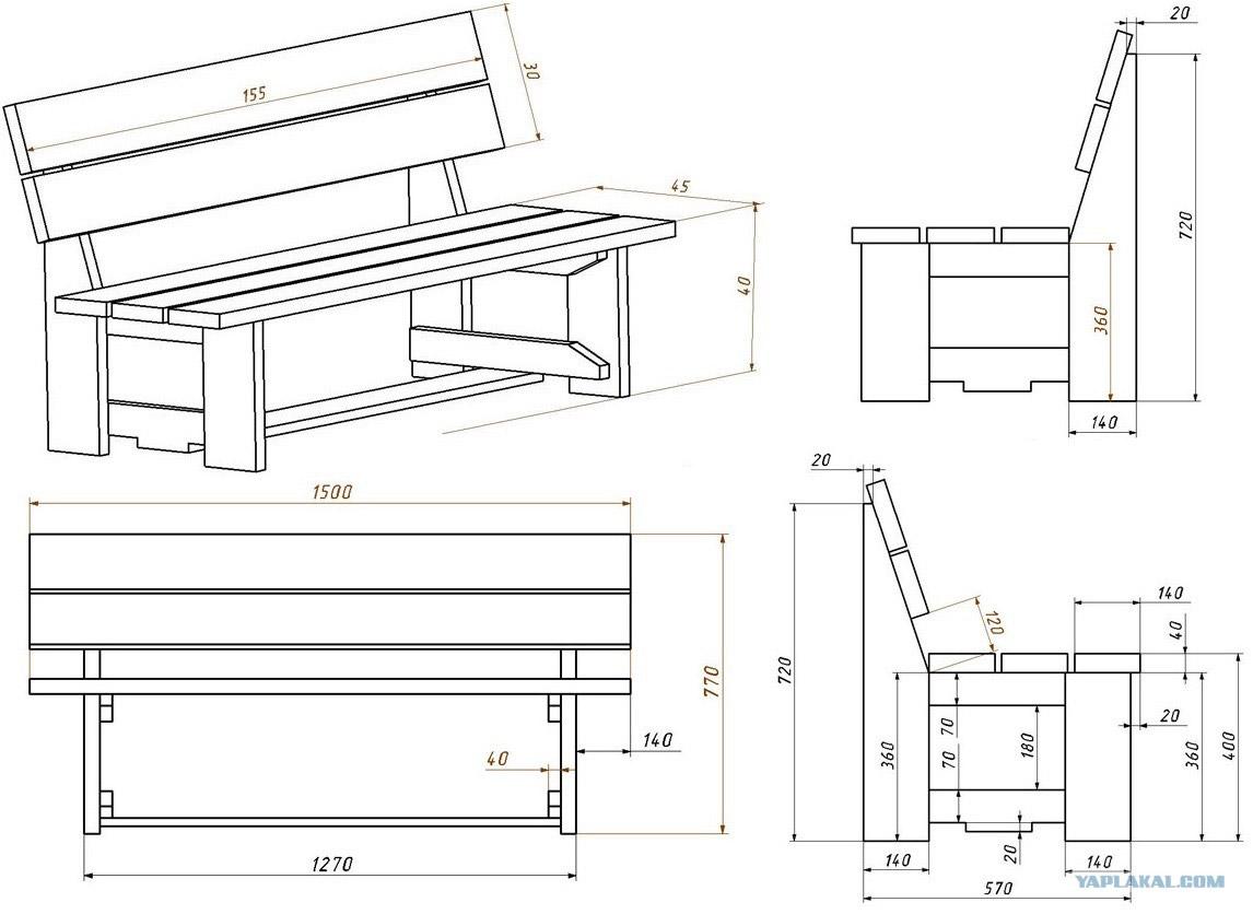 Как сделать скамейку на дачу с размерами